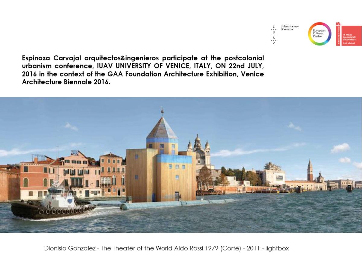 Espinoza Carvajal arquitectos&ingenieros participate at the postcolonial urbanismconference.